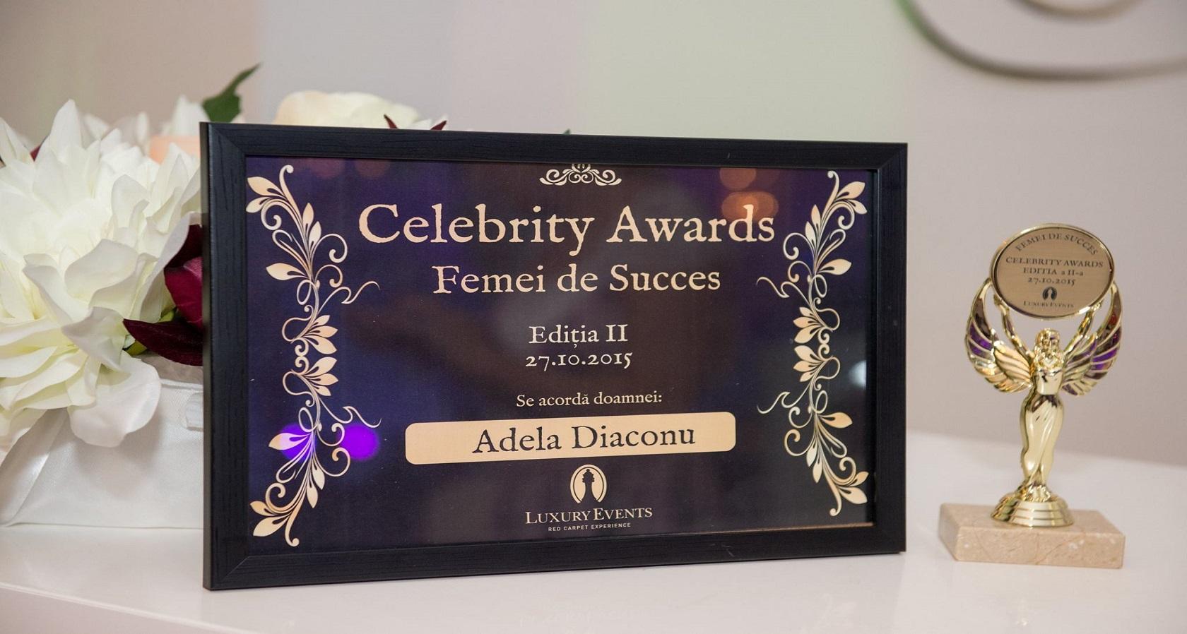 """Adela Diaconu a primit premiul """"Femeia de succes 2015"""""""